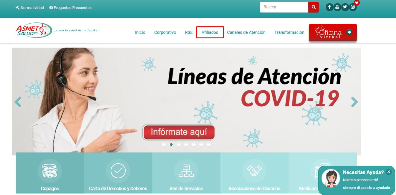 Descargar Certificado de Afiliacion Asmet Salud 2020