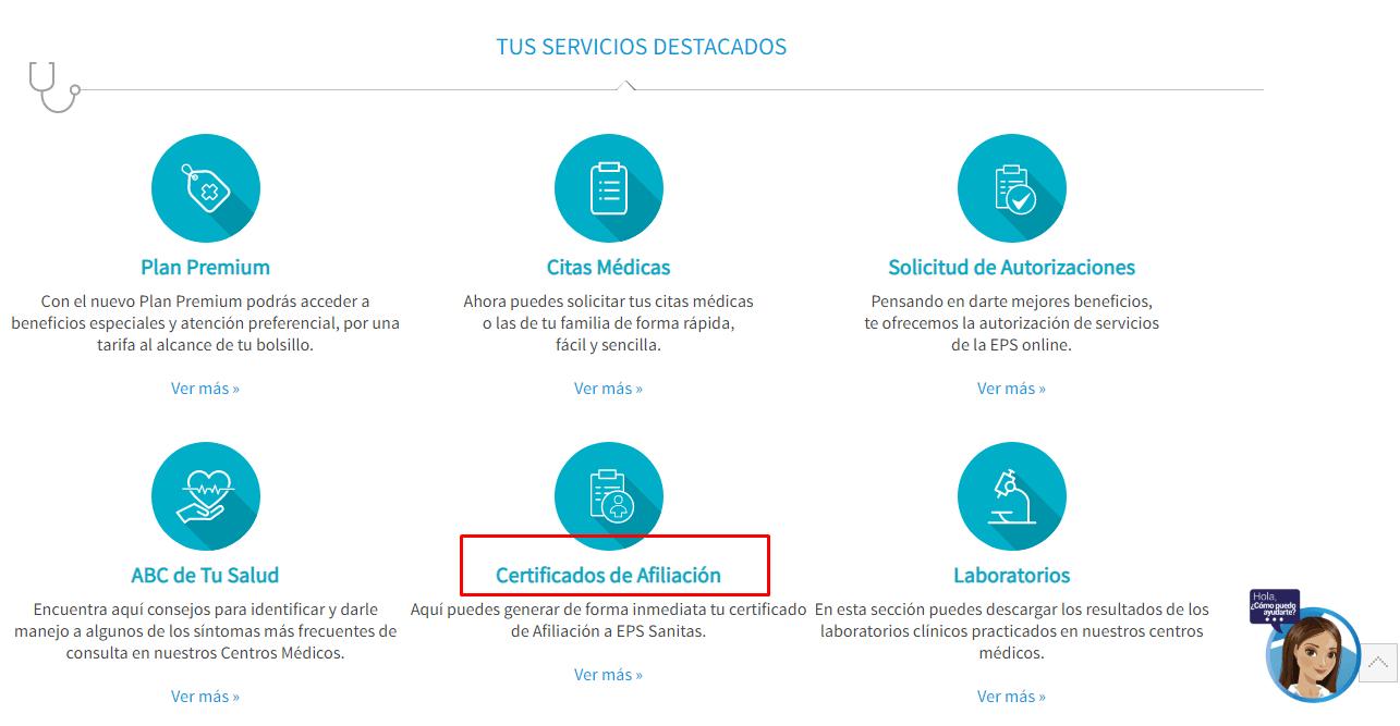 Imagen: Sanitas Certificado | Descarga tu Certificado EPS
