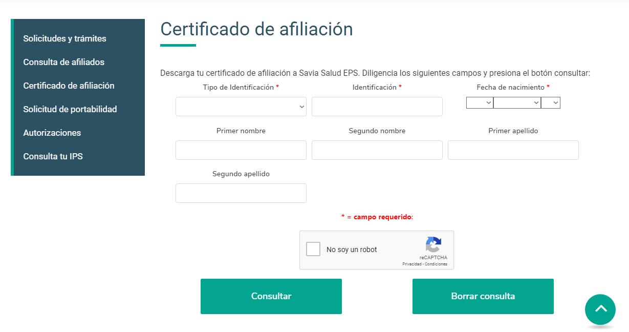 Certificado de Afiliación Savia Salud 2020